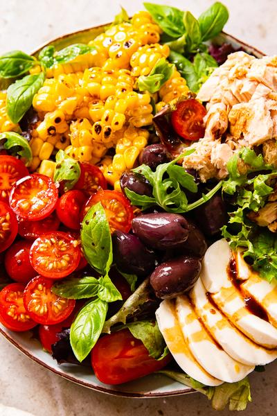 Italian Salad Recipe with Tuna, Corn and Mozzarella