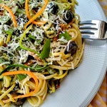 Yogurt Herb sauce Pasta with Julienne Carrot and Zucchini