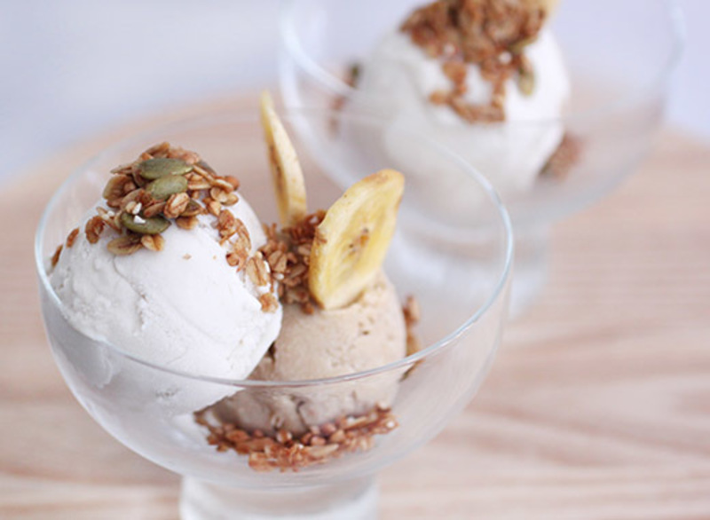 Vegan Coconut Ice Cream and Vegan Banana and Nut Butter Ice Cream with Granola