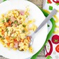 Mac & Cheese Casserole with Peas, Carrots & Ham
