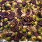 Roasted Purple Sweet Potatoes and Brussel Sprouts