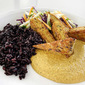 Golden Cashew Sauce with Chile and Lime Served with Black Rice and Panfried Tempeh