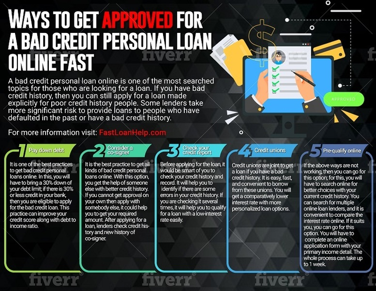 Ways to get approved for a bad credit personal loan online fast