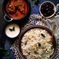 Vegan South Indian Coconut Rice / Thengai Sadam With Maharashtrian Brinjal Curry
