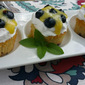Mulberry Molten Cakes w/Lemon Curd and Blueberries