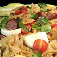 Caprese-Style Pasta Salad with Grilled Sausages; Beetles