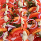 Peach Caprese Salad with cashew basil dressing