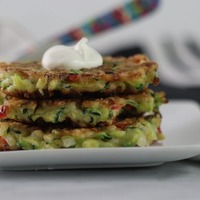 Zucchini Parmesan Fritters With Sour Cream
