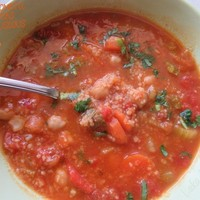 Spiced tomato, chickpeas and couscous soup