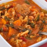 Meatball Vegetable Soup; quick Oatmeal Biscuits