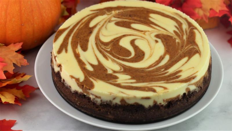 Pumpkin Swirl Cheesecake with Biscoff Crust