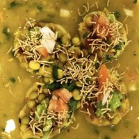 Ragda Patties, an Indian Chaat Recipe with Spiced Soup