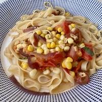 Tagliatelle with Corn, Tomatoes, Onion & Basil